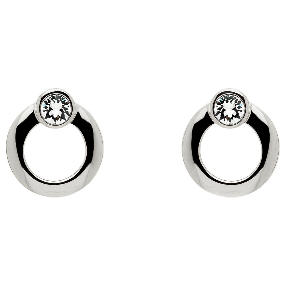 Cachet Cachet Polished Plated Swarovski Crystal Stud Earrings