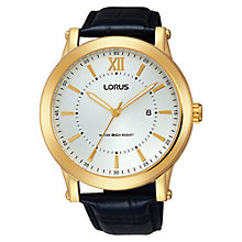 Buy Lorus RH906FX9 Men's Leather Strap Watch, Black/White Online at johnlewis.com