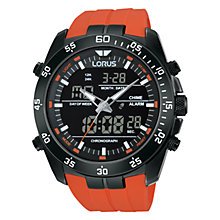 Buy Lorus RW625AX9 Men's Dual Chronograph Silicone Strap Watch, Orange/Black Online at johnlewis.com