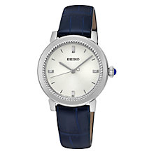 Buy Seiko SRZ451P1 Women's Leather Strap Watch, Blue/Silver Online at johnlewis.com