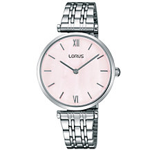 Buy Lorus RRW91EX9 Women's Bracelet Strap Watch, Silver/Pink Online at johnlewis.com