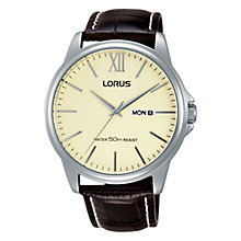 Buy Lorus RXN19DX9 Men's Day Date Leather Strap Watch, Brown/Cream Online at johnlewis.com