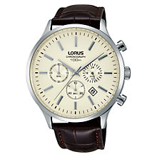 Buy Lorus RT313FX9 Men's Chronograph Leather Strap Watch, Brown/Cream Online at johnlewis.com