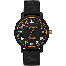 Buy Superdry Men's Campus Silicone Strap Watch, Black Online at johnlewis.com