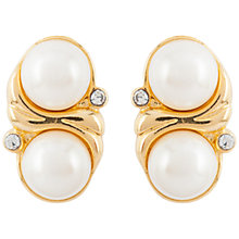 Buy Susan Caplan Vintage 1980s Trifari Gold Plated Faux Pearl Earrings, Gold Online at johnlewis.com
