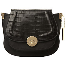 Buy Dune Delphine Croc Saddle Grab Bag, Black Online at johnlewis.com