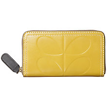 Buy Orla Kiely Embossed Stem Big Zip Leather Purse, Mustard Online at johnlewis.com