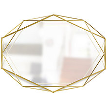 Buy Umbra Prisma Wall Mirror, 43 x 57cm, Matt Brass Online at johnlewis.com
