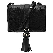 Buy Reiss Leather Jarvis Mini Tassel Shoulder Bag, Black Online at johnlewis.com