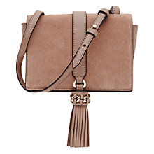 Buy Reiss Leather Mini Tassle Shoulder Bag, Blush Online at johnlewis.com