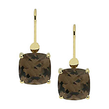 Buy London Road 9ct Gold Square Smokey Quartz Drop Earrings, Gold Online at johnlewis.com