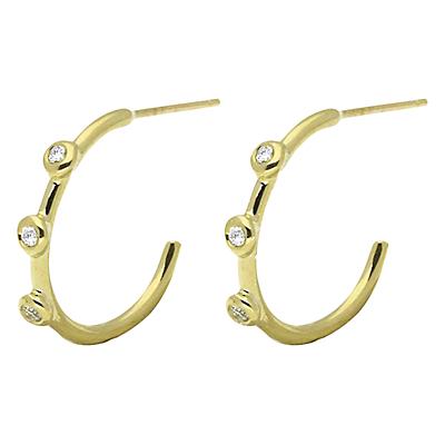 London Road 9ct Gold Diamond Hoop Earrings