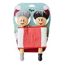 Buy Vigar Christmas Couple Dish Brush, Set of 2 Online at johnlewis.com
