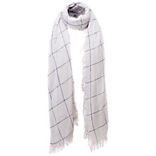 Buy Pure Collection Quarrendon Cashmere Scarf, Whisper/Navy Online at johnlewis.com
