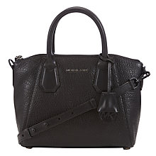 Buy MICHAEL Michael Kors Campbell Small Leather Satchel, Black Online at johnlewis.com