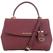 Buy MICHAEL Michael Kors Ava Medium Leather Satchel, Red Online at johnlewis.com