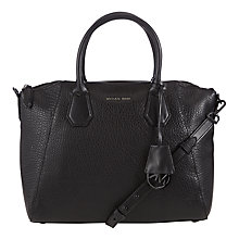 Buy MICHAEL Michael Kors Campbell Large Leather Satchel, Black Online at johnlewis.com