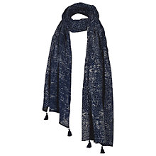 Buy Fat Face Floral Stripe Cotton Scarf, Navy Online at johnlewis.com