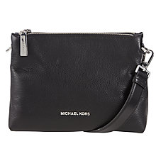Buy MICHAEL Michael Kors Jane Medium Leather Messenger Bag, Black Online at johnlewis.com