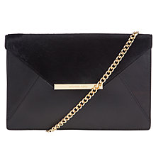 Buy MICHAEL Michael Kors Lana Envelope Leather Clutch Bag, Black Online at johnlewis.com