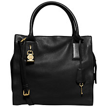 Buy MICHAEL Michael Kors Mckenna Large Leather Satchel, Black Online at johnlewis.com