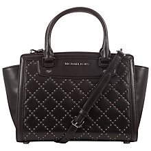 Buy MICHAEL Michael Kors Selma Micro Stud Leather Satchel, Black Online at johnlewis.com