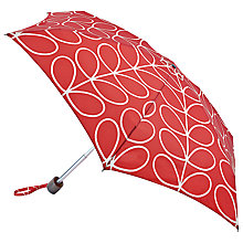 Buy Orla Kiely Tiny Linear Leaf Umbrella, Red Online at johnlewis.com