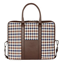 Buy Aquascutum Club Check Laptop Bag, Brown Online at johnlewis.com