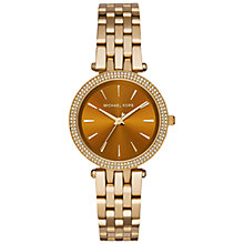 Buy Michael Kors MK3408 Women's Darci Bracelet Strap Watch, Gold/Brown Online at johnlewis.com