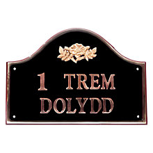 Buy The House Nameplate Company Personalised Solid Brass Bridge House Sign, Wild Rose Motif Online at johnlewis.com