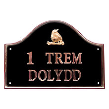 Buy The House Nameplate Company Personalised Solid Brass Bridge House Sign, Bird Motif Online at johnlewis.com