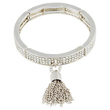 Buy Adele Marie Half Set Diamante Tassel Stretch Bracelet, Silver Online at johnlewis.com