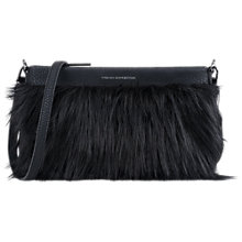 Buy French Connection Georgina Faux Fur Pouch, Black Online at johnlewis.com
