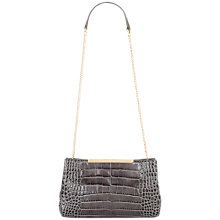 Buy Jaeger Marylebone Leather Croc Clutch, Grey Online at johnlewis.com
