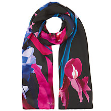 Buy Ted Baker Susane Stencilled Stem Long Silk Scarf, Fuchsia/Violet Blue Online at johnlewis.com