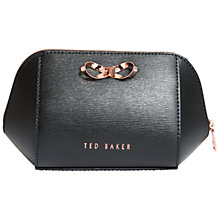 Buy Ted Baker Ammi Bow Leather Makeup Bag, Black Online at johnlewis.com