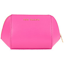 Buy Kular Crosshatch Small Leather Wash Bag, Bright Pink Online at johnlewis.com