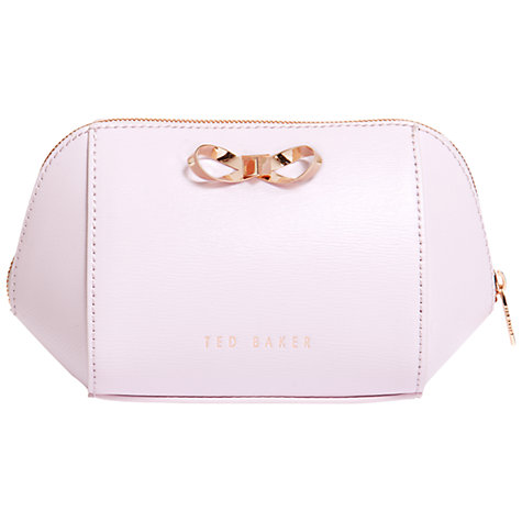 Ted Baker Ammi Trapeze Bow Leather Make-Up Bag, Pale Pink