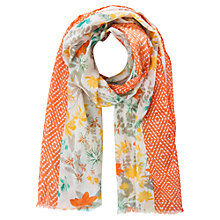 Buy Mango Kids Children's Geo Floral Print Scarf, Orange Online at johnlewis.com