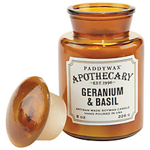 Buy Paddywax Apothecary Geranium and Basil Scented Candle Online at johnlewis.com