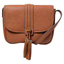 Buy Mango Pebbled Cross Body Bag, Medium Brown Online at johnlewis.com