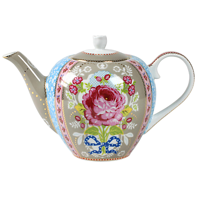 Image of PiP Studio Big Floral Large Teapot, Khaki