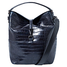 Buy Mango Croc-Effect Bag, Black Online at johnlewis.com