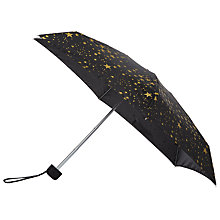Buy Fulton Tiny 2 Star Print Umbrella, Black/Gold Online at johnlewis.com