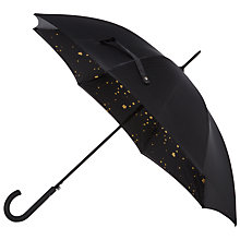Buy Fulton Bloomsbury Star Print Umbrella, Black/Gold Online at johnlewis.com