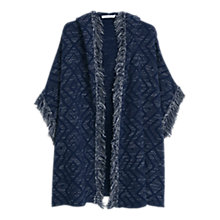 Buy Mango Knitted Cotton-Blend Cape, Navy Online at johnlewis.com