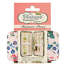 Buy The Vintage Cosmetic Company Pink Satin Floral Manicure Purse Set Online at johnlewis.com