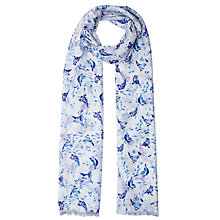 Buy John Lewis Brush Stroke Bird Print Scarf, Cream/Blue Online at johnlewis.com