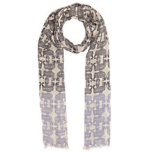 Buy John Lewis Tapestry Elephant Cotton Twill Scarf, Blue/Multi Online at johnlewis.com
