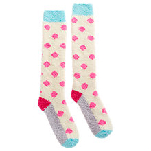 Buy Joules Fabfluffy Supersoft Fluffy Spot Knee High Socks, Cream/Multi Online at johnlewis.com